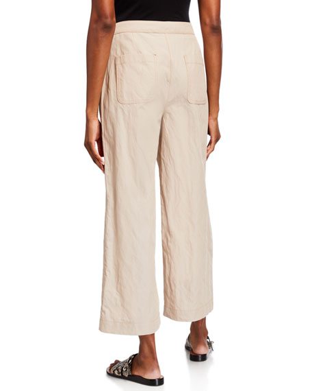 Image 2 of 3: Eileen Fisher Organic Cotton Steel Wide-Leg Ankle Pants