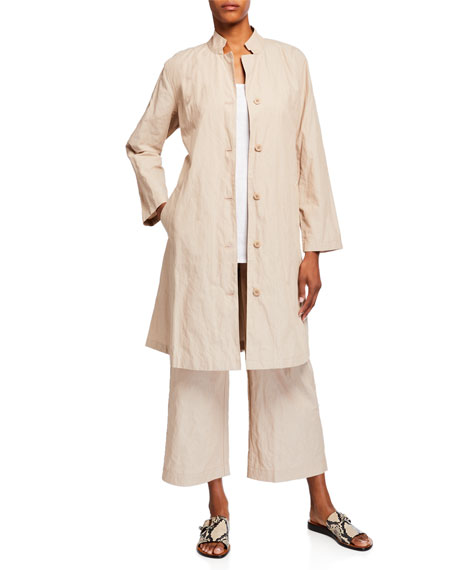Image 3 of 3: Eileen Fisher Organic Cotton Steel Wide-Leg Ankle Pants