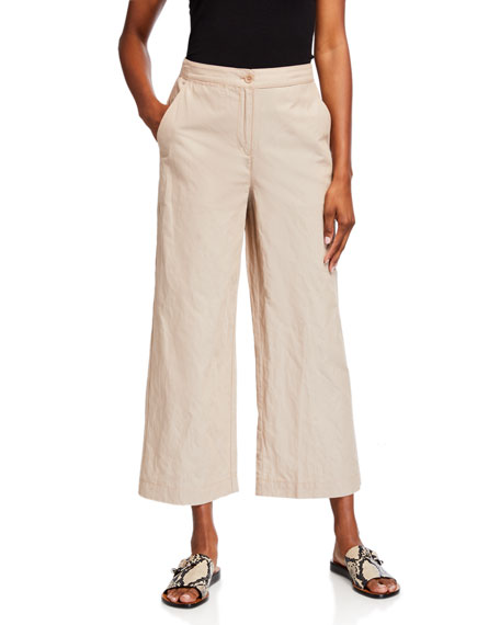 Image 1 of 3: Eileen Fisher Organic Cotton Steel Wide-Leg Ankle Pants