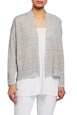 Eileen Fisher Plus Size Organic Linen Melange Open Cardigan