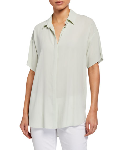 Eileen Fisher Classic Collar Short-Sleeve Silk Crepe Button-Down Shirt