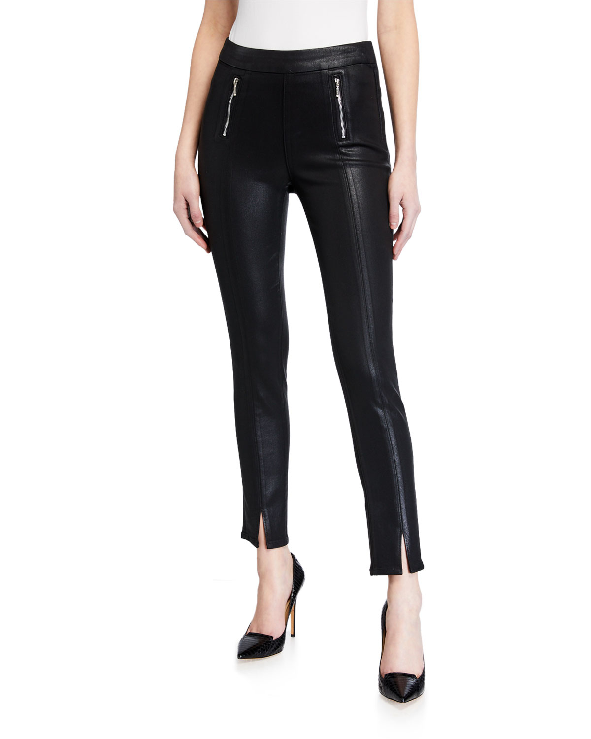 PAIGE Talita Coated Pants in Black