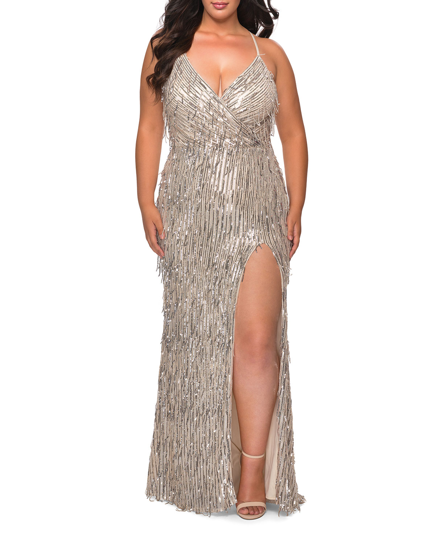 Plus Size Fringe Sequin V-Neck Cross-Back Column Gown