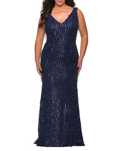 Plus Size Fringe Sequin V-Neck Sleeveless Column Gown