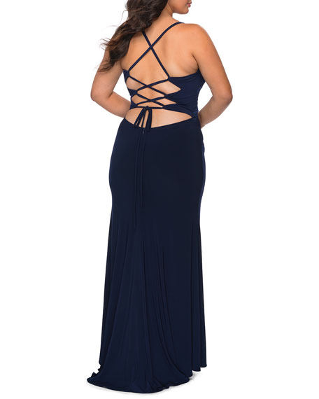 La Femme Plus Size Ruched Bodice Jersey Gown with Lace-Up Back