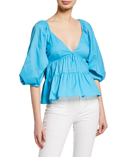 Lucy Blouson-Sleeve Tiered Top