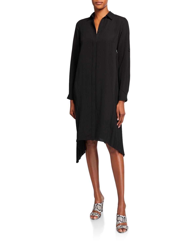 Halston Long-Sleeve Side-Pleated Shirtdress