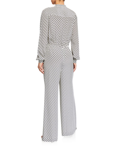 Tory Burch Striped Long-Sleeve Silk Jumpsuit