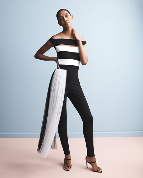 Chiara Boni La Petite Robe Mar Two-Tone Off-the-Shoulder Jumpsuit w/ Illusion Waist Train