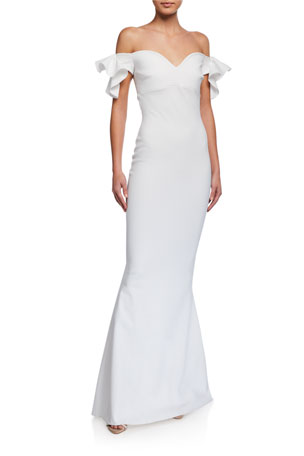 Chiara Boni La Petite Robe Ruffle-Sleeve Sweetheart Mermaid Gown