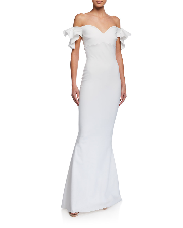 Chiara Boni La Petite Robe Ruffle-Sleeve Sweetheart Mermaid Gown
