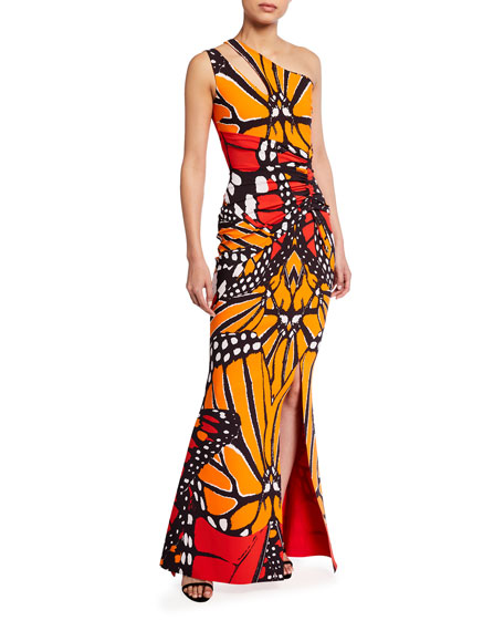 Image 1 of 2: Chiara Boni La Petite Robe Butterfly Print Keyhole One-Shoulder Gown