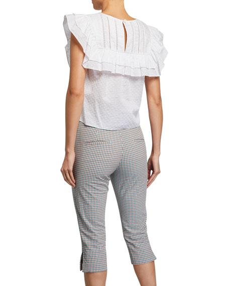 Veronica Beard Blair Textured Lace Ruffle Top