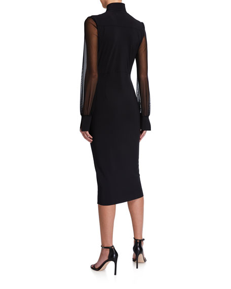 Image 2 of 2: Chiara Boni La Petite Robe Organza-Sleeve Body-Con Dress