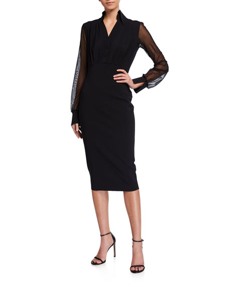 Image 1 of 2: Chiara Boni La Petite Robe Organza-Sleeve Body-Con Dress