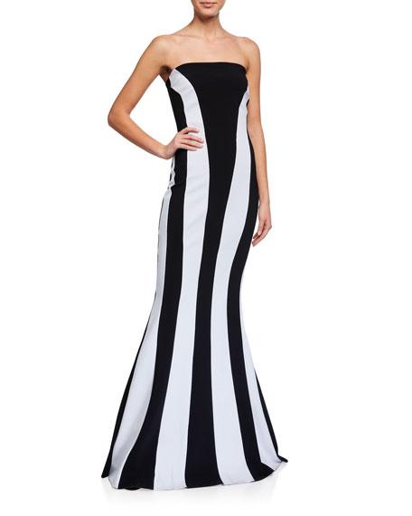 Chiara Boni La Petite Robe Strapless Colorblock Mermaid Gown