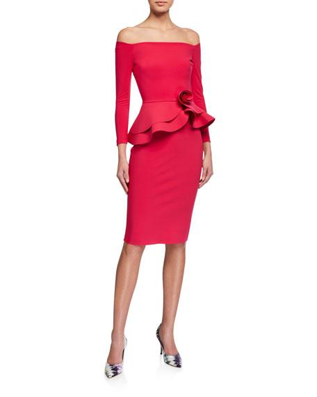 Chiara Boni La Petite Robe Rosette Peplum Off-the-Shoulder Dress