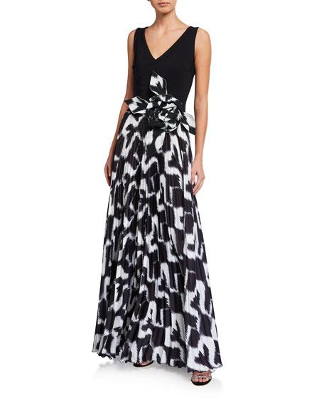 Chiara Boni La Petite Robe Sleeveless Rosette-Waist Pleated Gown