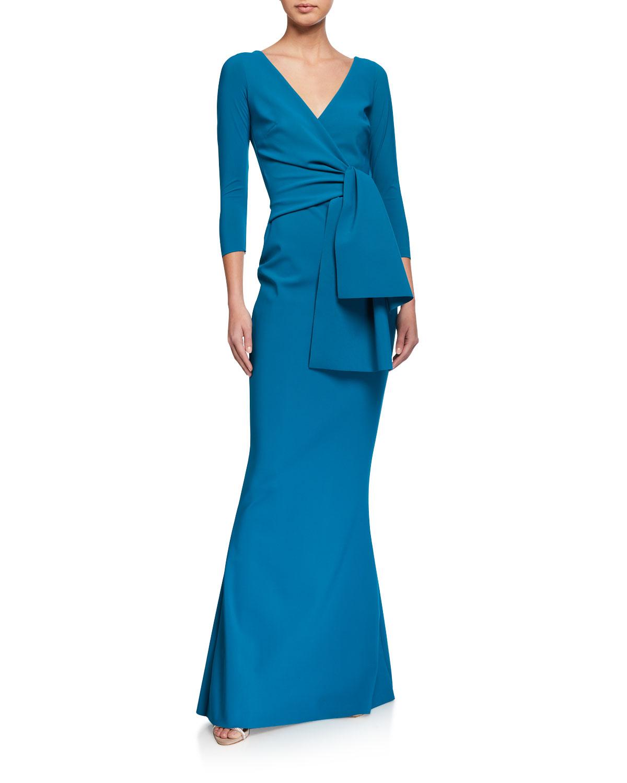 Chiara Boni La Petite Robe V-Neck Front Knot-Flap Mermaid Gown