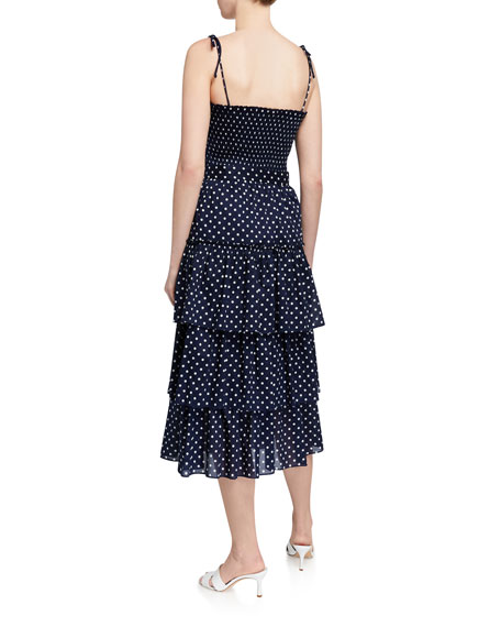 Tory Burch Smocked Polka Dot Tiered Midi Dress