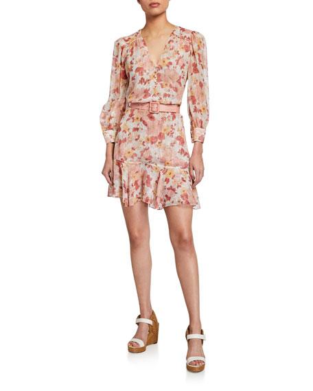 Veronica Beard Cybil Floral Metallic Button-Front Dress