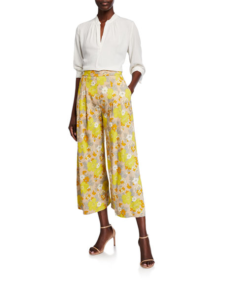 Veronica Beard Leonor Floral-Print Wide-Leg Pants
