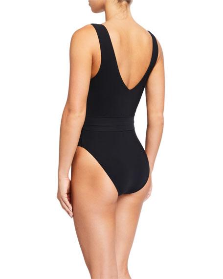 Tory Burch Miller Plunge High-Leg One-Piece Swimsuit