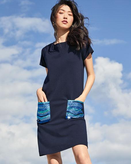 Joan Vass Plus Size Sequin Pocket Short-Sleeve Dress