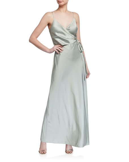 WAYF The Cooper Faux Wrap Solid Cami Gown