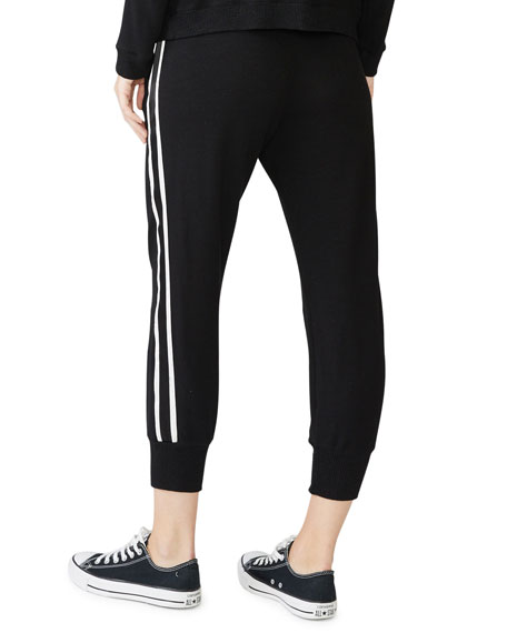 Monrow Lace Up Sweatpants with Side-Stripe Detailing