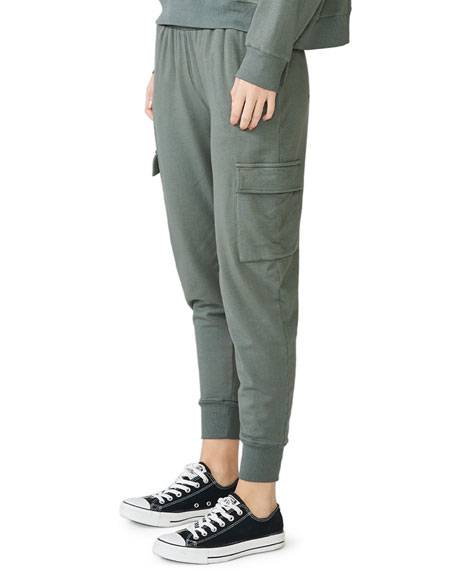 Monrow Cargo Jogger Pants with Front Patch Pockets