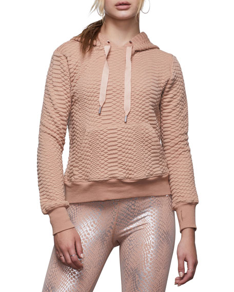 Good American Quilted Snake Lace-Up Pullover Hoodie - Inclusive Sizing