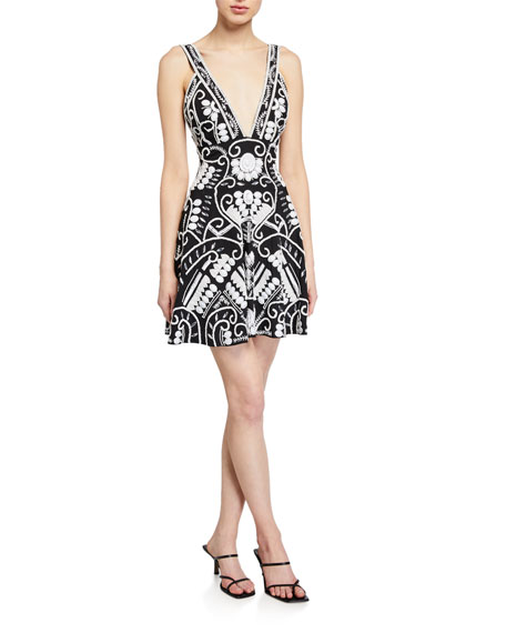 Image 1 of 2: Alexis Jerza Embroidered Short Dress