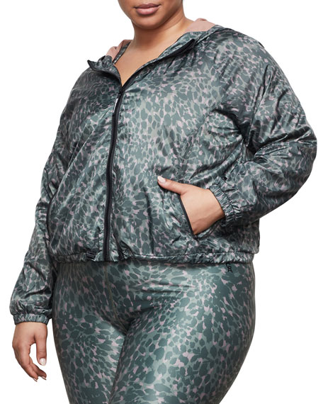 Good American Printed Hooded Running Jacket - Inclusive Sizing