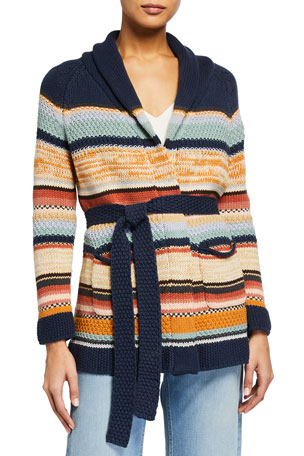 The Great The Mountain Striped Tie Cardigan