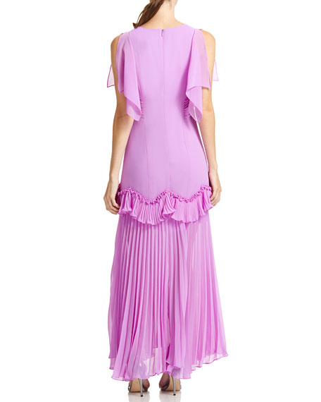 Image 3 of 3: Halston Dramatic Pleated Gown