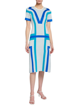 Victor Glemaud Jacquard Short-Sleeve Dress