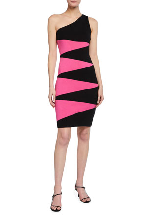 Victor Glemaud One-Shoulder Geometric Dress