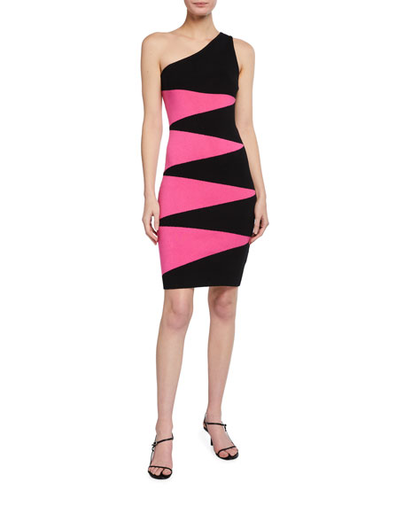 Image 1 of 2: Victor Glemaud One-Shoulder Geometric Dress