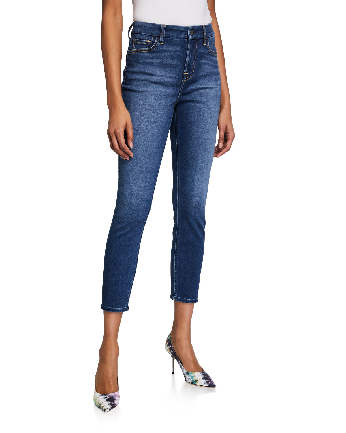 Jen7 by 7 for All Mankind High-Rise Skinny Ankle Jeans