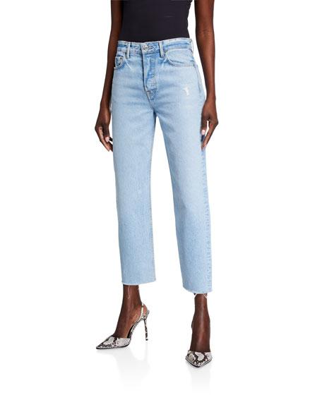 GRLFRND Helena Super High-Rise Straight-Leg Crop Jeans