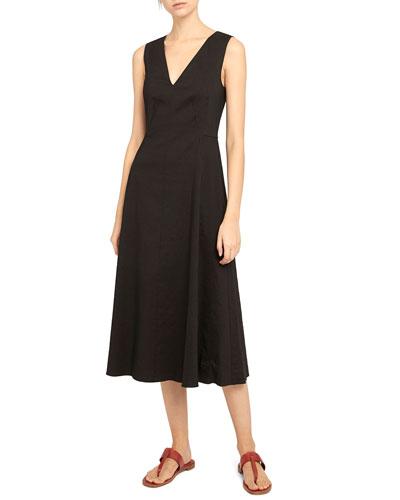 Seamed Eco Crunch V-Neck Dress