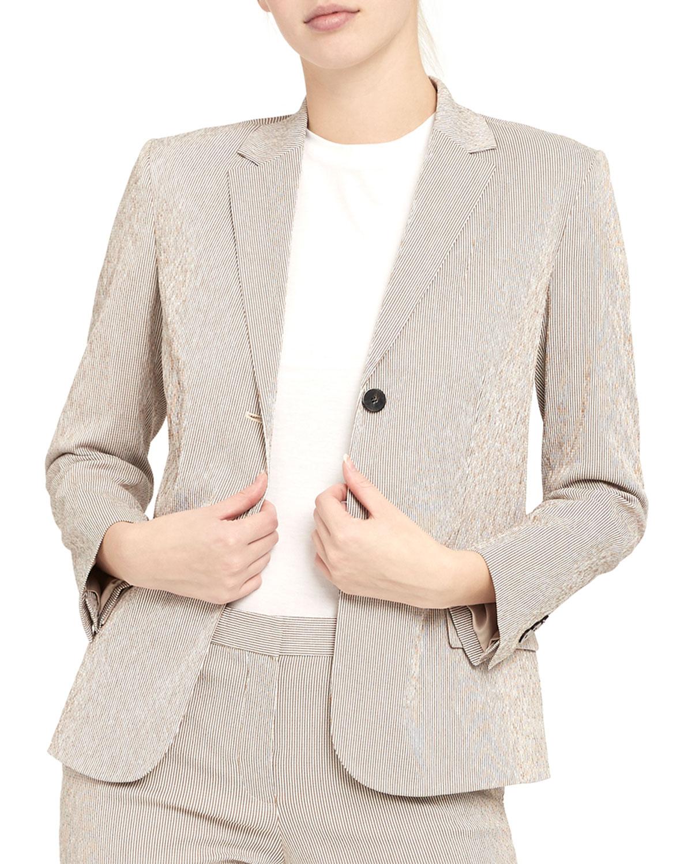 Theory Shrunken Two Button Stretch Seersucker Jacket Neiman Marcus
