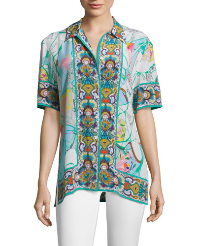 Leila Camp Shirt with Border