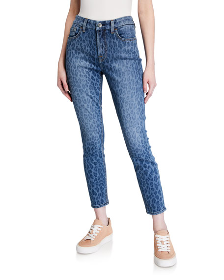 Image 1 of 3: Jen7 by 7 for All Mankind Leopard-Print Ankle Skinny Jeans