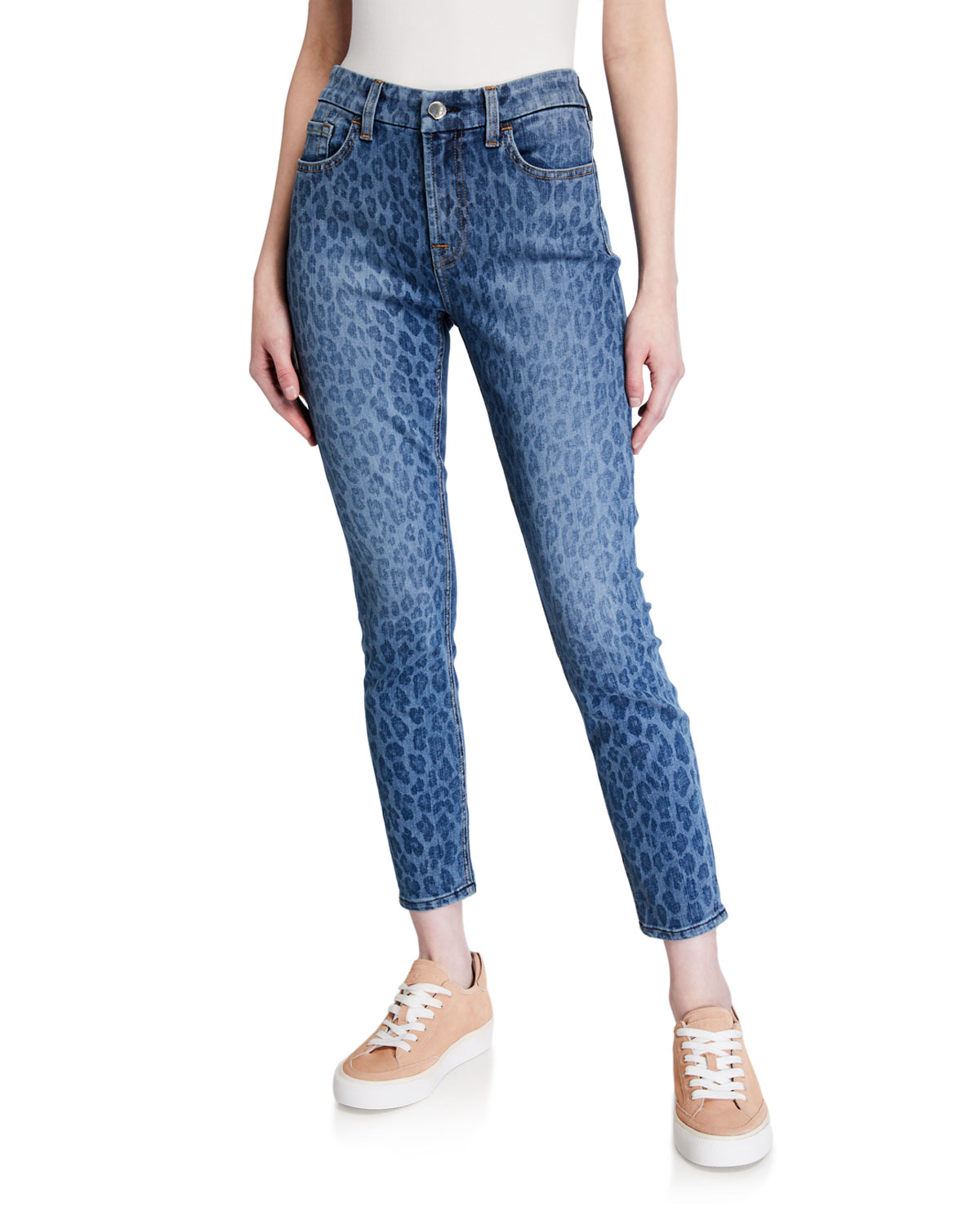 Jen7 by 7 for All Mankind Leopard-Print Ankle Skinny Jeans