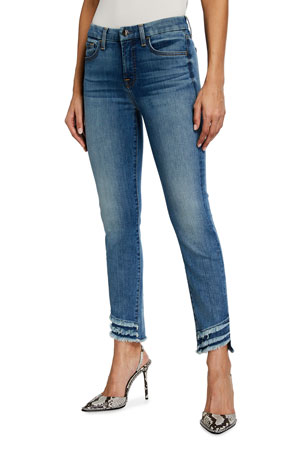 Jen7 by 7 for All Mankind Ankle Skinny Frayed Hem Jeans