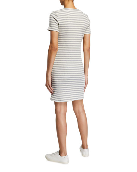 Image 2 of 2: Theory Cherry Striped Ribbed Shirt Dress