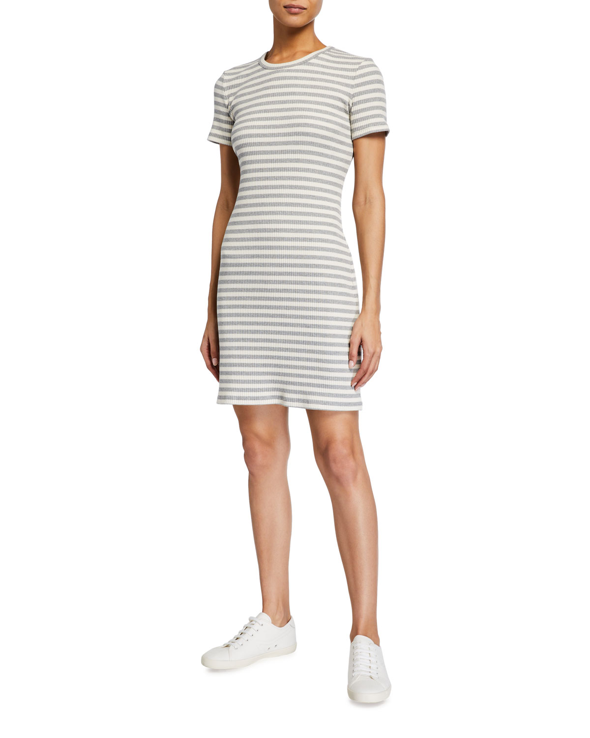 Theory Cherry Striped Ribbed Shirt Dress