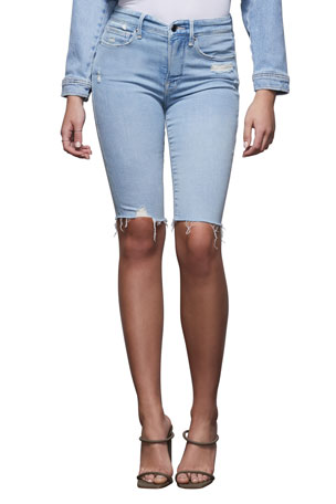 Good American Good Bermuda Shorts with Notched Waistband